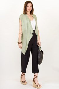 Donna Karan Pistachio Cashmere Knitted Sleeveless Cardigan / Size: M - Fit: One size